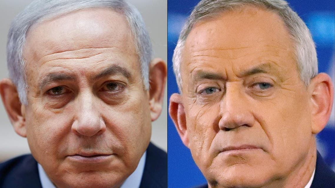 a combo created on on April 02, 2019 (COMBO) shows Israeli Prime Minister Benjamin Netanyahu (L) attending the weekly cabinet meeting at the Prime Minister's office in Jerusalem on December 9, 2018 and retired Israeli general Benny Gantz. (AFP)