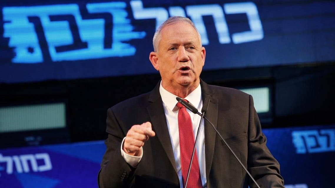 Retired Israeli General Benny Gantz, one of the leaders of the Blue and White (Kahol Lavan) political alliance, attends a campaign event in the Israeli coastal city of Tel Aviv Israel on September 15, 2019. (AFP)