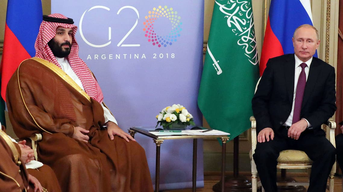 Saudi Arabia's Crown Prince Mohammed bin Salman (L) and Russia's President Vladimir Putin hold a bilateral meeting on the second day of the G20 Leaders' Summit in Buenos Aires, on December 01, 2018. The leaders of countries representing four-fifths of the global economy opened a two-day meeting in Argentina facing the deepest fractures since the first G20 summit convened 10 years ago in the throes of financial crisis.