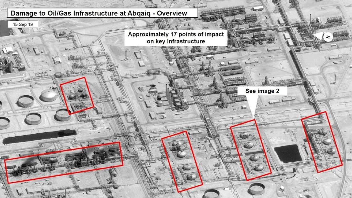 A satellite image showing damage to oil/gas Saudi Aramco infrastructure at Abqaiq, in Saudi Arabia. (File photo: US Government/DigitalGlobe/Reuters)
