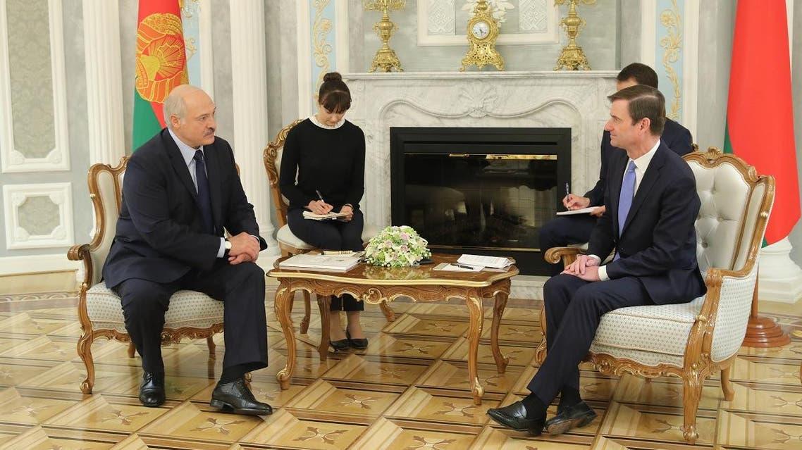 Belarusian President Alexander Lukashenko meets with US Undersecretary for Political Affairs David Hale in Minsk on September 17, 2019. (AFP)