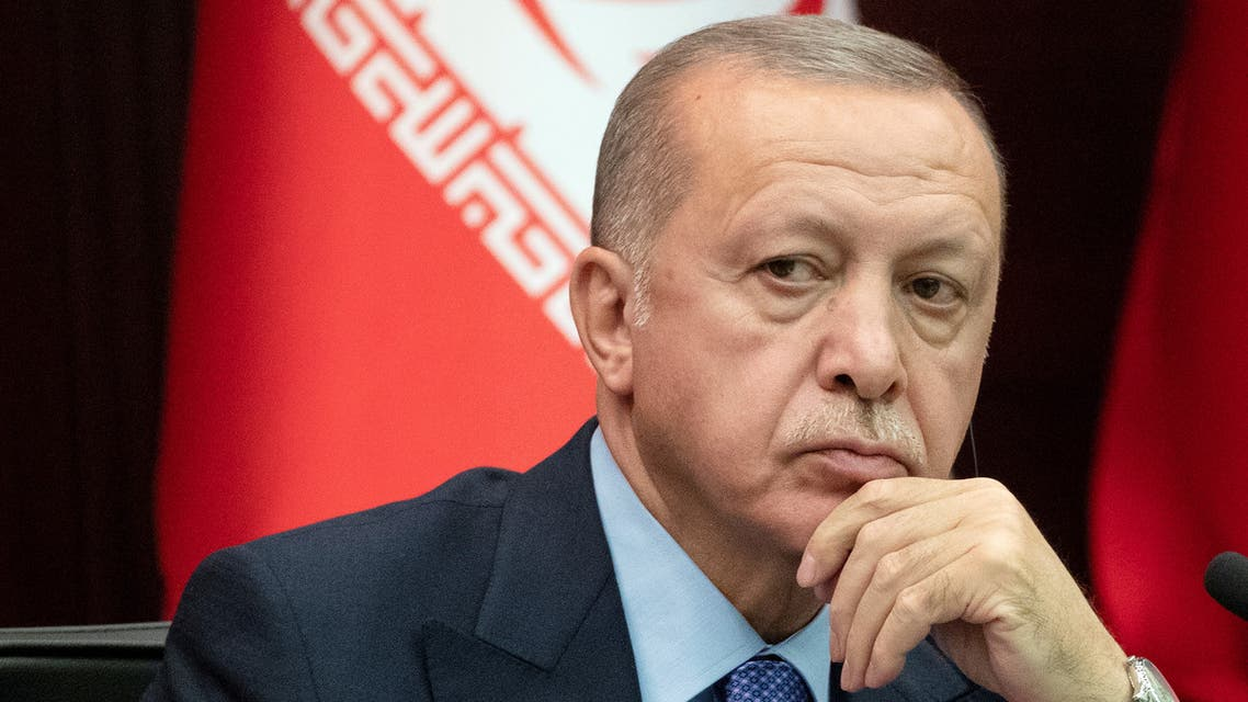 Turkish President Tayyip Erdogan attends a news conference following trilateral talks with his counterparts Hassan Rouhani of Iran and Vladimir Putin of Russia in Ankara, Turkey September 16, 2019. Sputnik/Alexei Nikolsky/Kremlin via REUTERS ATTENTION EDITORS - THIS IMAGE WAS PROVIDED BY A THIRD PARTY.