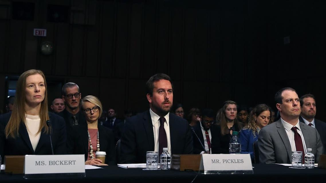 (L-R), Monika Bickert, head of global policy management at Facebook, Nick Pickles, public policy director for Twitter, and Derek Slater, global director of information policy at Google, appear before the Senate Commerce, Science and Transportation Committee, on September 18, 2019 in Washington, DC. (AFP)
