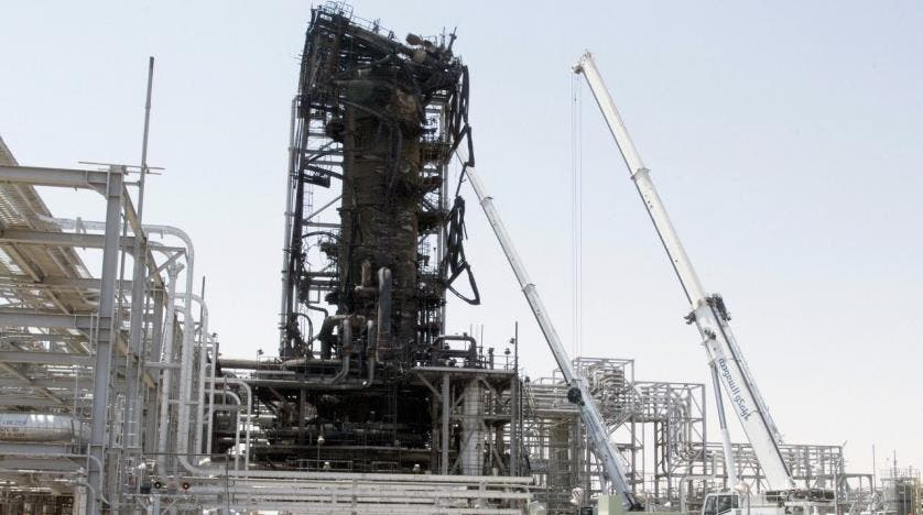 Charred tower during journalists visit Aramco site at Abqaia Khurais Saudi Arabia (SPA)