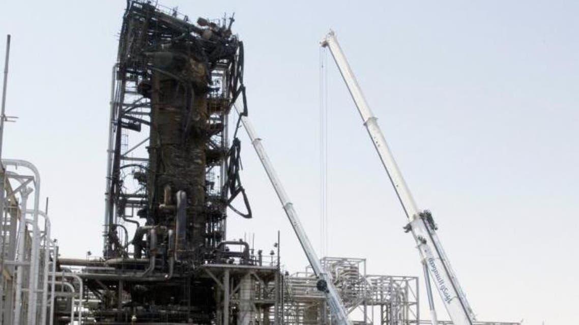 Charred tower during journalists visit Aramco site at Abqaia Khurais Saudi Arabia (SPA)
