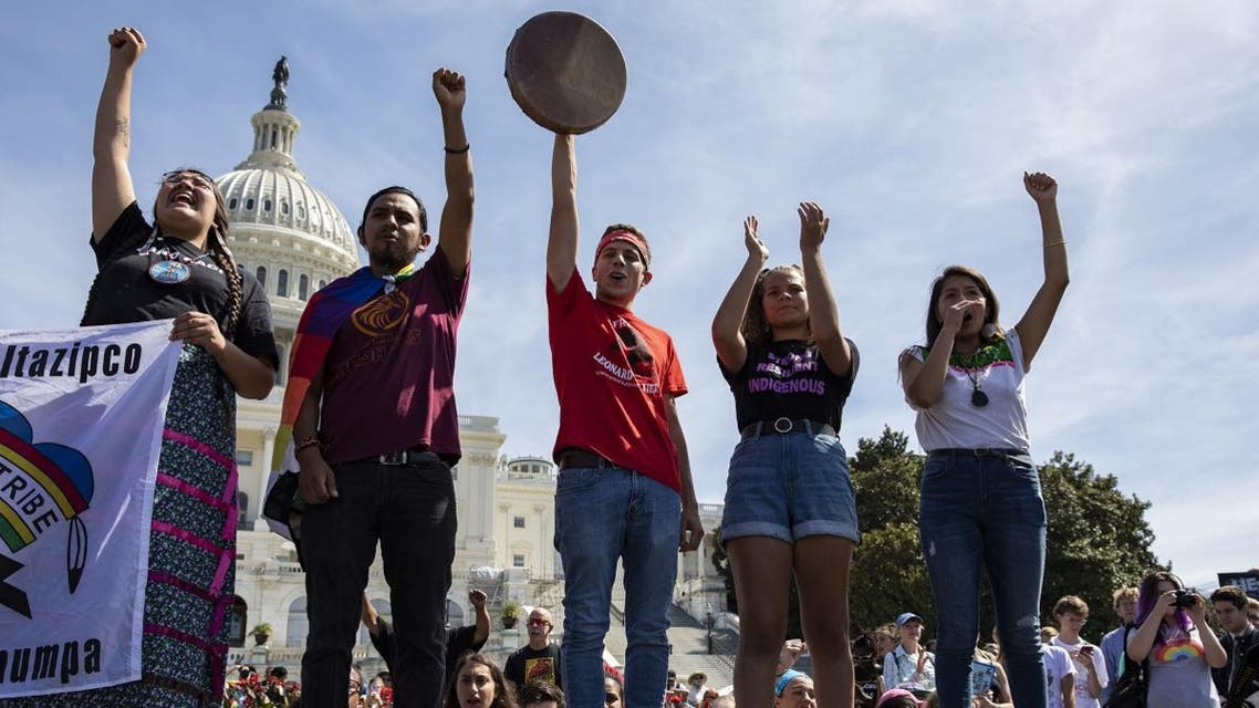Native American youth speak in front of the US Capitol Building as part of the Global Climate Strike protests on September 20, 2019, in Washington, DC. (AFP)