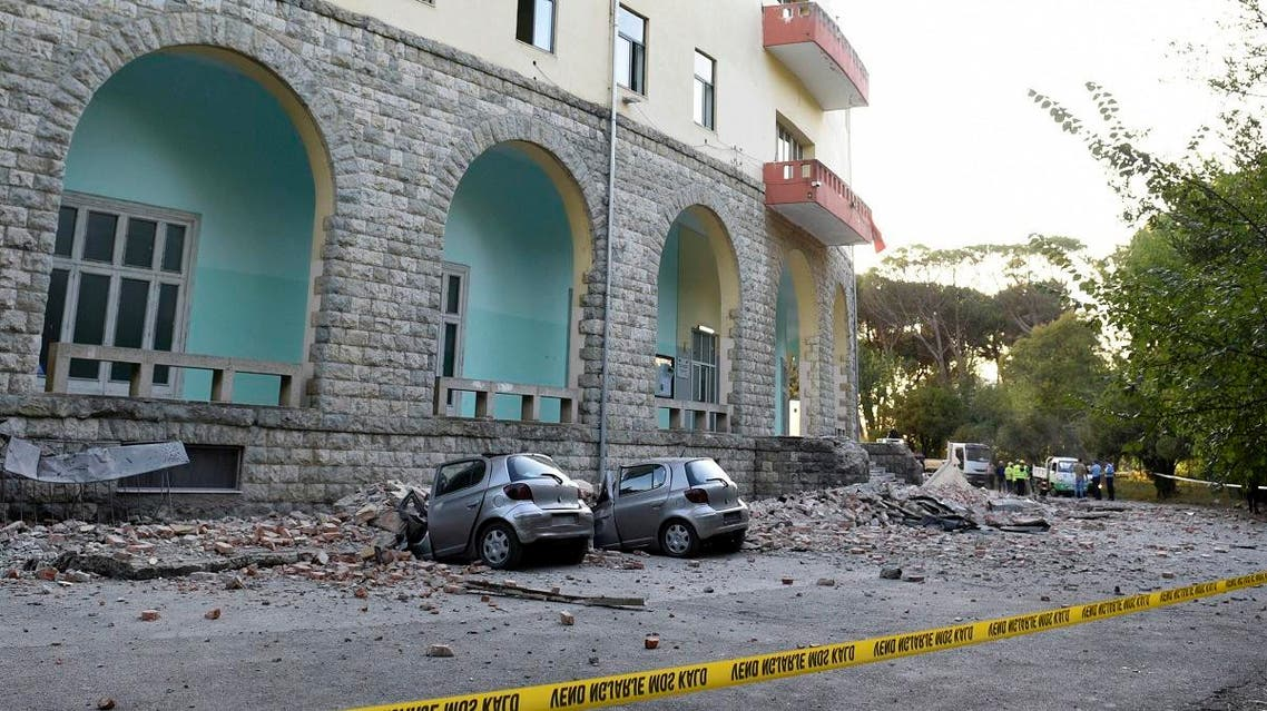 Damaged cars outside the Faculty of Geology building after an earthquake in Tirana, on September 21, 2019.  (AP)
