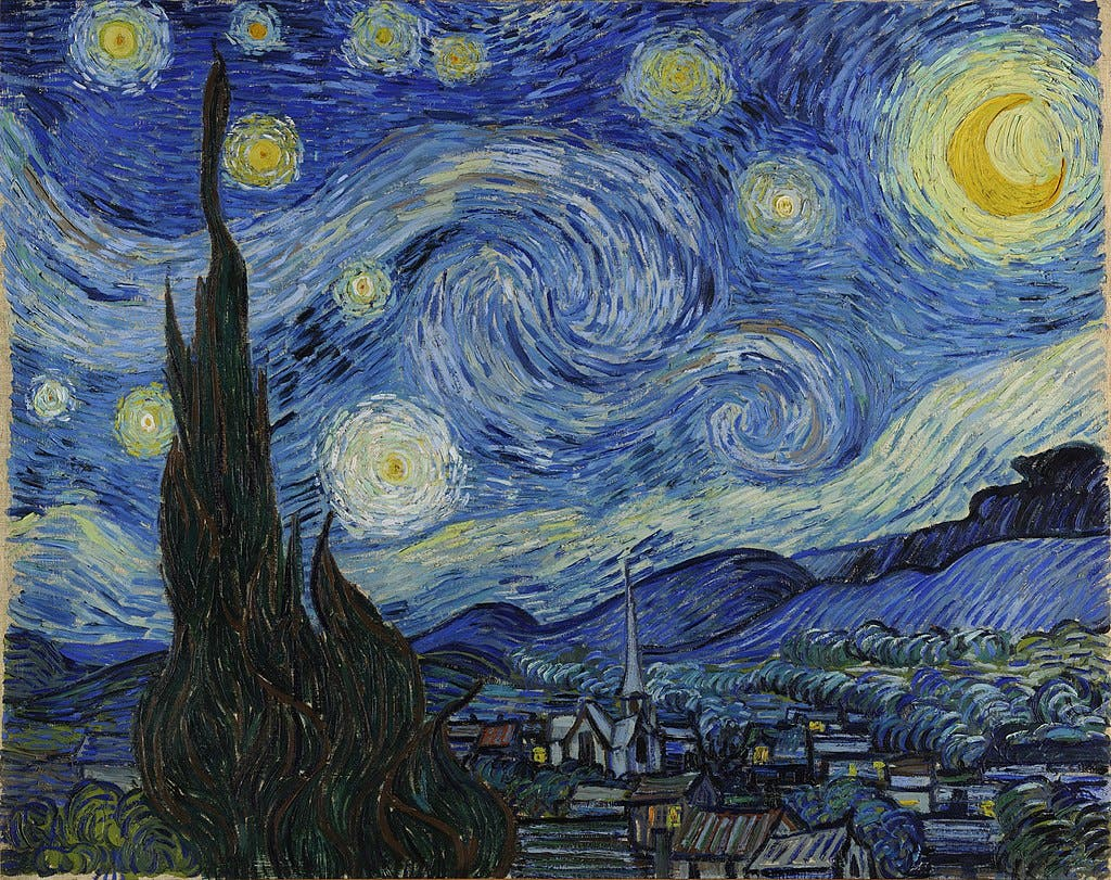 صورة للوحة ليلة النجوم لفنسنت فان غوخ