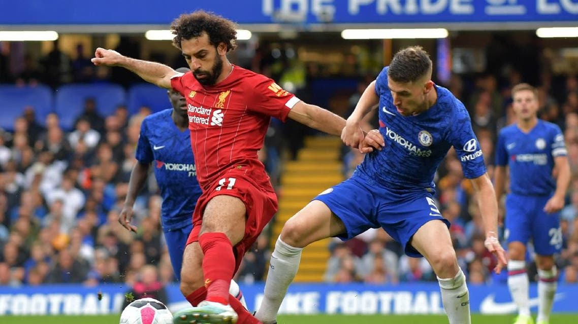 Liverpool's Egyptian midfielder Mohamed Salah (L) vies with Chelsea's Italian midfielder Jorginho (R) during the English Premier League football match between Chelsea and Liverpool at Stamford Bridge in London on September 22, 2019. (AFP)