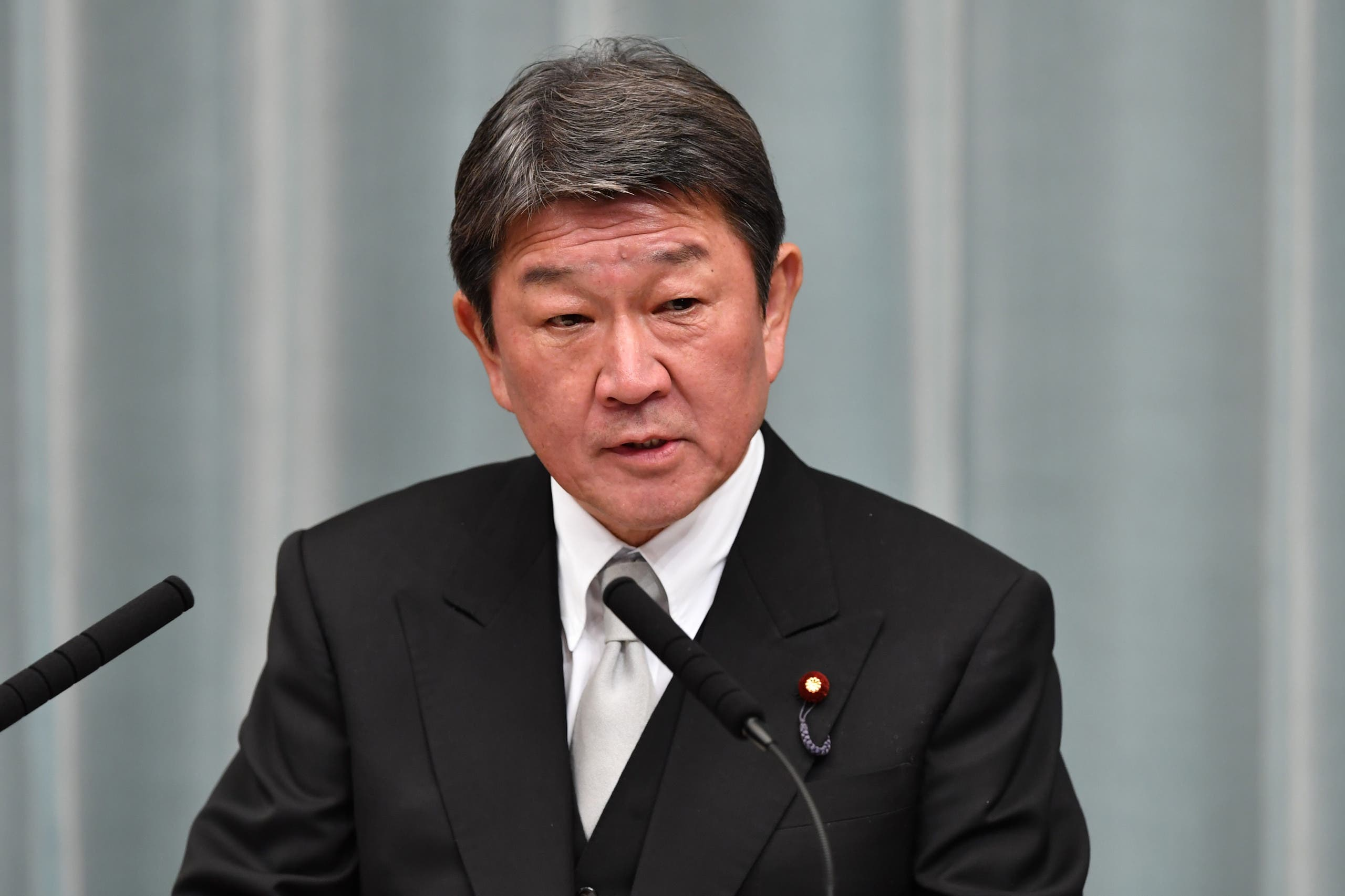 Newly appointed Japanese Foreign Minister Toshimitsu Motegi speaks during a press conference at the prime minister's official residence in Tokyo. (AFP)