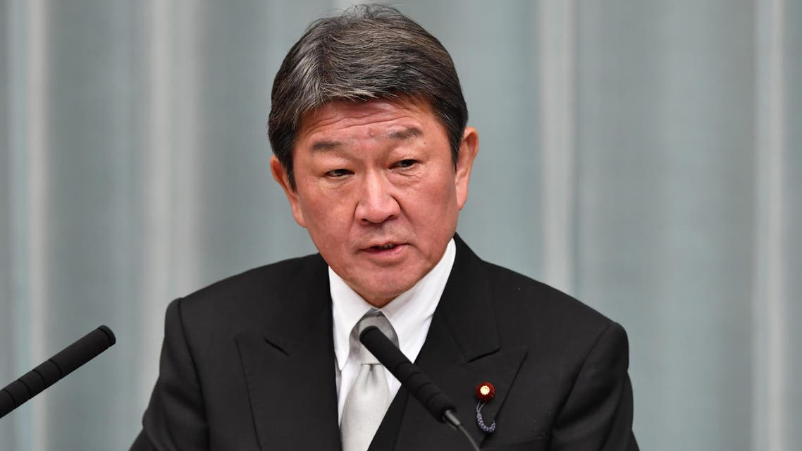 Newly appointed Japanese Foreign Minister Toshimitsu Motegi speaks during a press conference at the prime minister's official residence in Tokyo on September 11, 2019. (AFP)