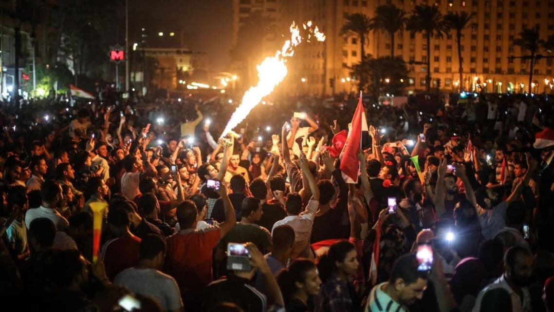 Egypt fans celebrate in Cairo after their national team qualified for the World Cup. (Twitter)