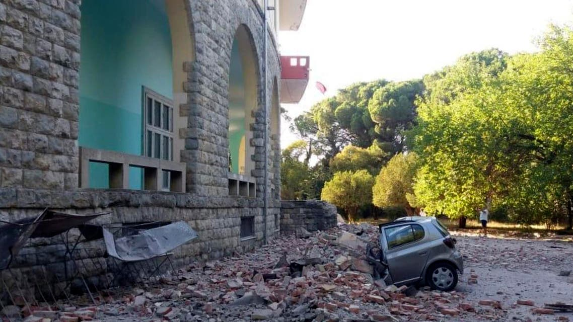 A damaged car outside the Faculty of Geology building after an earthquake in Tirana, Saturday, Sept. 21, 2019. (AP)