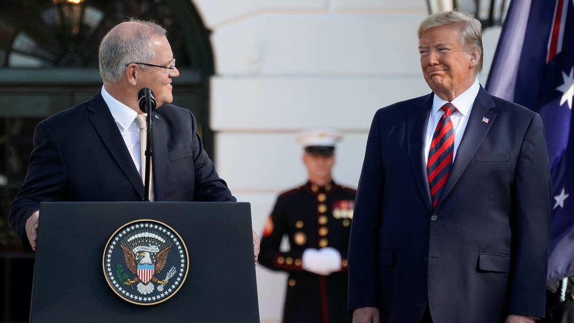 U.S. President Donald Trump looks at Australia's Prime Minister Scott Morrison during an official arrival ceremony on the South Lawn of the White House in Washington, U.S., September 20, 2019. REUTERS