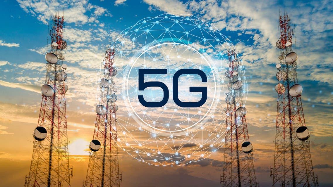 5G Telecommunication tower antenna in morning sky Evening sky stock photo