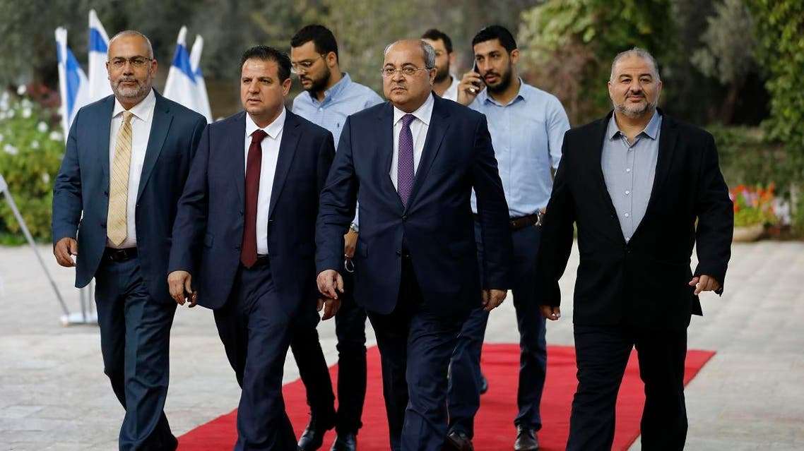 (L to R) Members of the mainly Arab Joint List alliance Osama Saadi, Ayman Odeh, Ahmad Tibi and Mansour Abbas arrive for a consulting meeting with the Israeli President, Jerusalem September 22, 2019. (AFP)