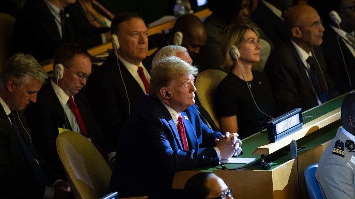 US President Donald Trump attends the UN Climate Action Summit at United Nations Headquarters in New York, September 23, 2019, on the sidelines of the UN General Assembly. (AFP)