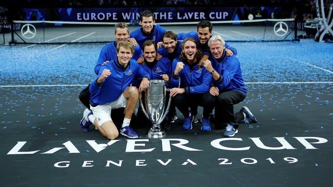 Team Europe captain Bjorn Borg, vice-captain Thomas Enqvist, Alexander Zverev, Dominic Thiem, Fabio Fognini, Stefanos Tsitsipas, Roger Federer and Rafael Nadal pose with the trophy. (Reuters)