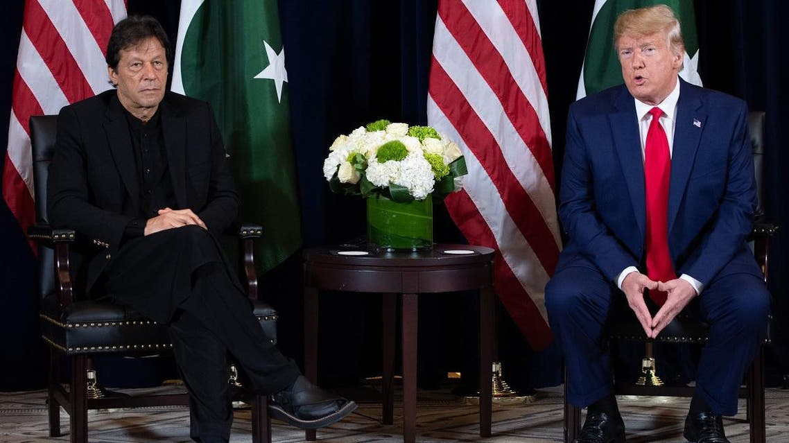 US President Donald Trump (R) and Pakistani Prime Minister Imran Khan (L) hold a meeting on the sidelines of the UN General Assembly in New York, September 23, 2019. AFP