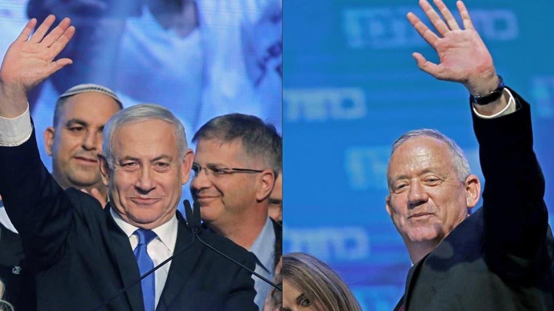 Benny Gantz & Benjamin Netanyahu - afp