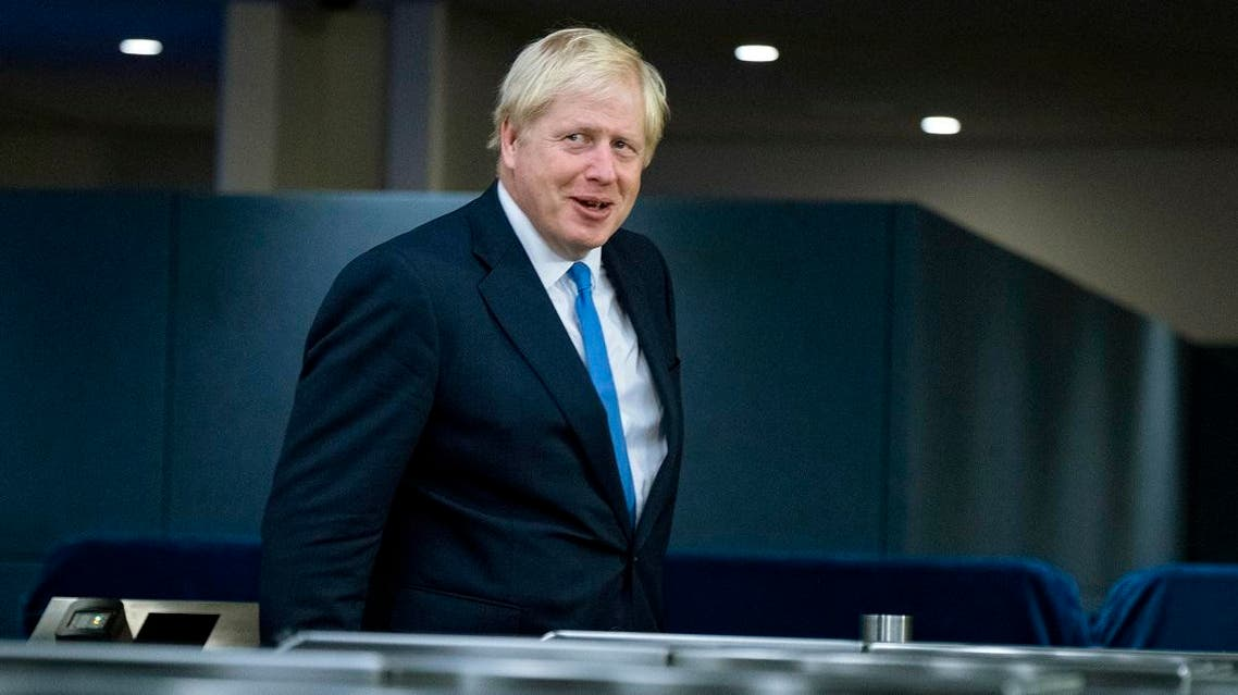 Britain's Prime Minister Boris Johnson arrives for the 74th session of the United Nations General Assembly, at UN headquarters, Monday, Sept. 23, 2019. (AP)