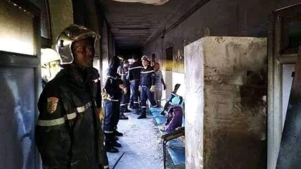 من حريق المستشفى بالجزائر (المصدر تويتر راديو الجزائر)