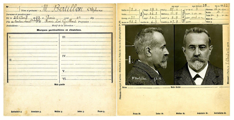 صورة للبيانات الأنثروبومترية الجنائية لألفونس برتيون