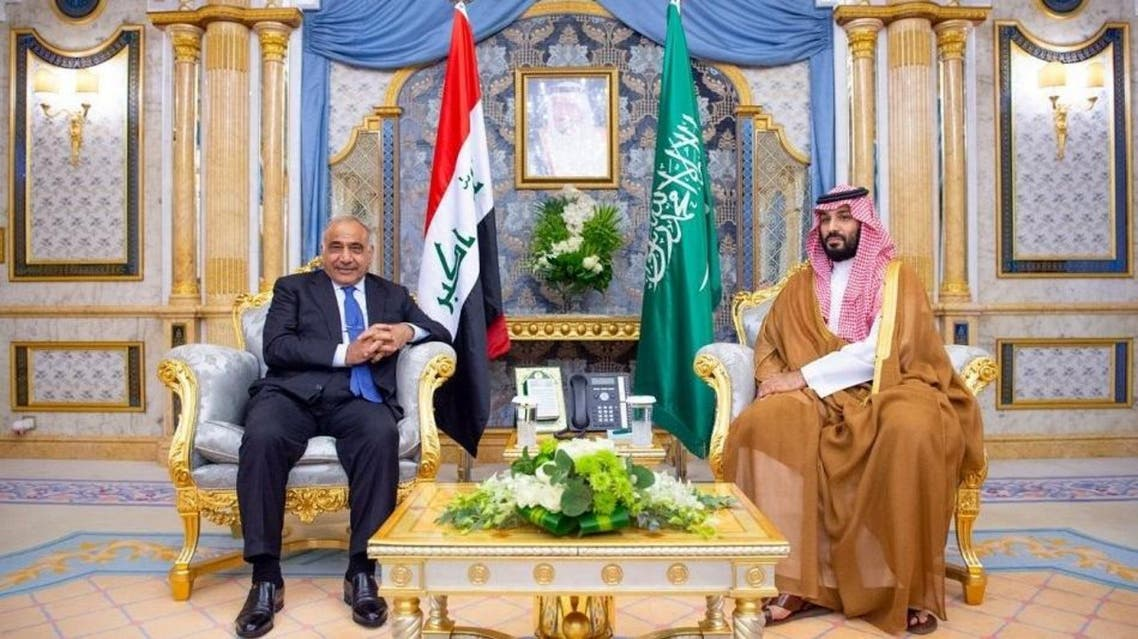 Saudi Arabia's Crown Prince Mohammed bin Salman meets Iraqi Prime Minister Adel Abdul Mahdi in Jeddah on September 25, 2019. (SPA)
