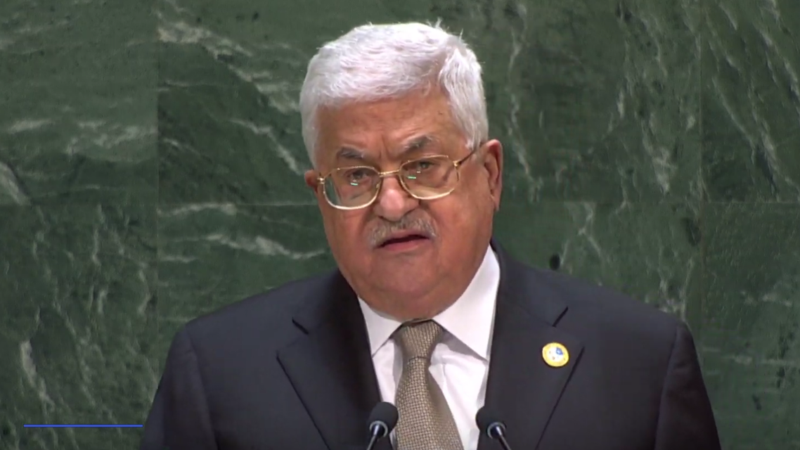 Palestinian president Abbas speaking at the UNGA (Screengrab)