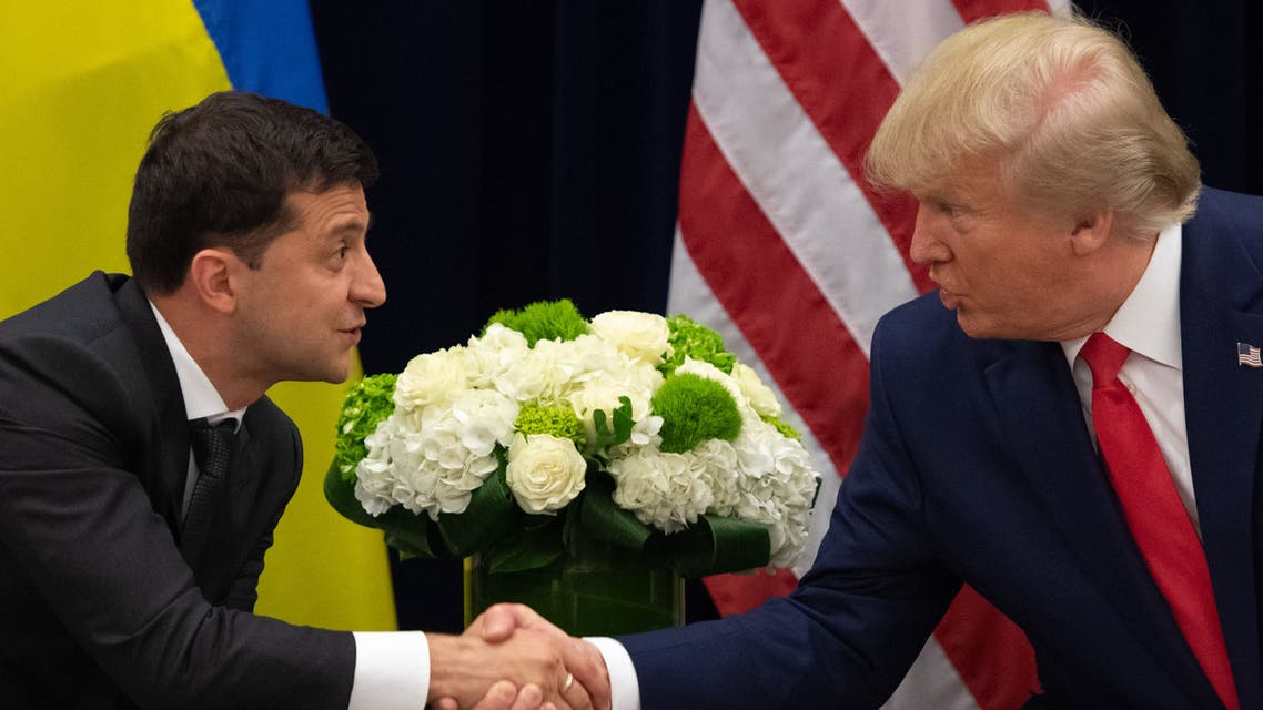 US President Donald Trump and Ukrainian President Volodymyr Zelensky shake hands during a meeting in New York on September 25, 2019, on the sidelines of the United Nations General Assembly.