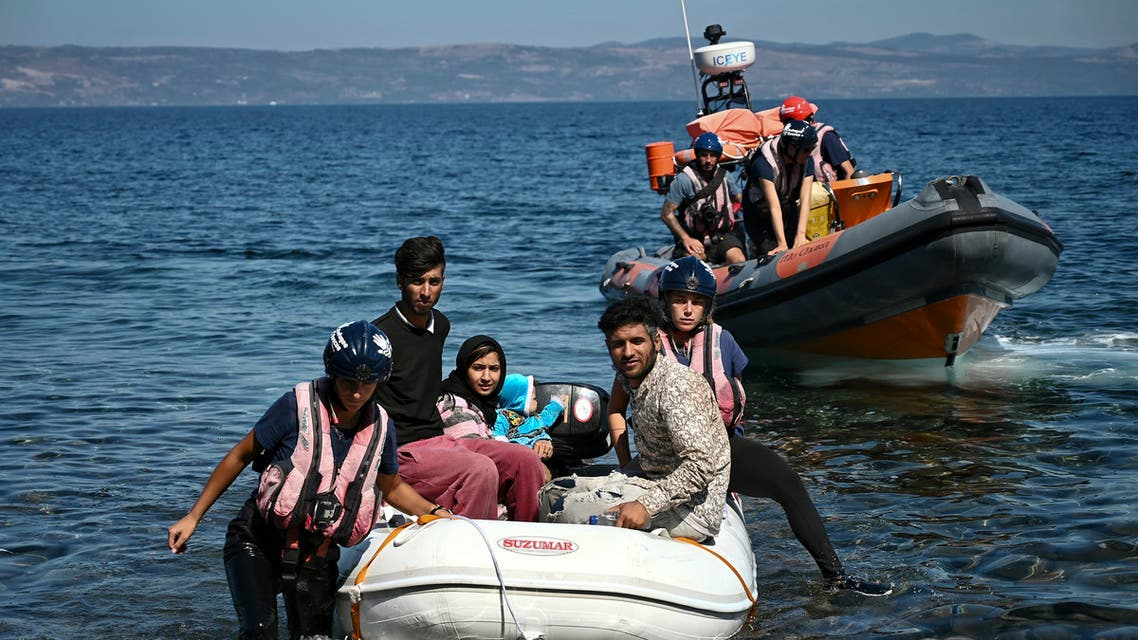 Migrants helped by rescuers arrive on the Greek island of Lesbos after crossing the Aegean Sea from Turkey, on September 16, 2019. Migration is a hot political issue in Europe, which experienced a wave of more than a million asylum-seekers in 2015, most of them from war-ravaged Syria.