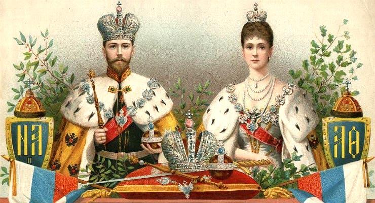 لوحة تجسد القيصر نيقولا الثاني وزوجته ألكسندرا