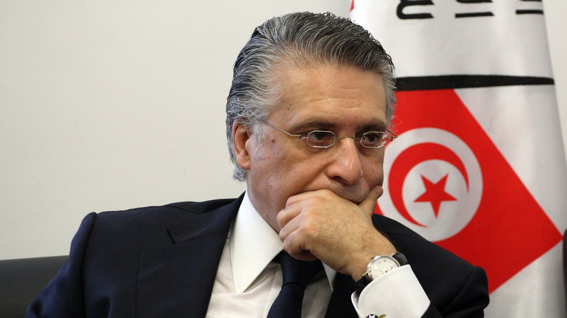 Nabil Karoui, Tunisian media magnate and would-be presidential candidate is pictured after submitting his candidacy to Tunisia's electoral commission in the capital Tunis on August 2, 2019. Presidential hopefuls in Tunisia began registering their candidacies today for snap September polls called after the death of 92-year-old leader Beji Caid Essebsi.