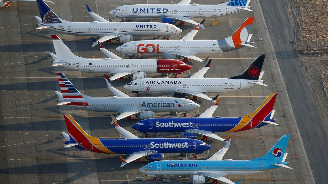 FILE PHOTO: An aerial photo shows Boeing 737 MAX aircraft at Boeing facilities at the Grant County International Airport in Moses Lake, Washington, September 16, 2019. REUTERS/Lindsey Wasson/File Photo