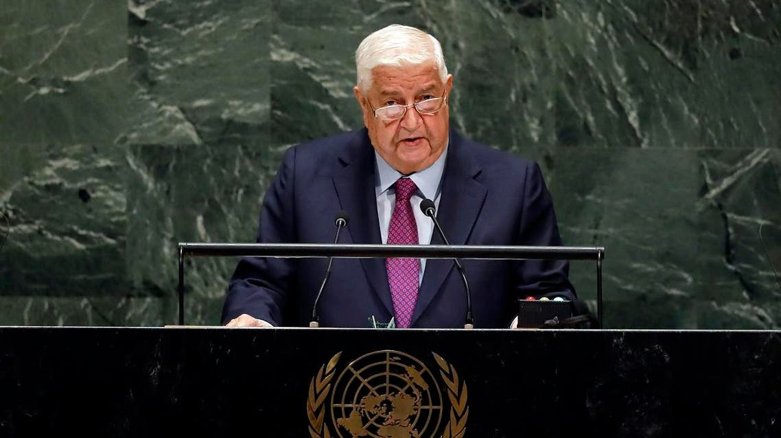 Syrian FM Walid al-Moualem addresses the 74th session of the General Assembly at the United Nations in New York on September 28, 2019. (AP)