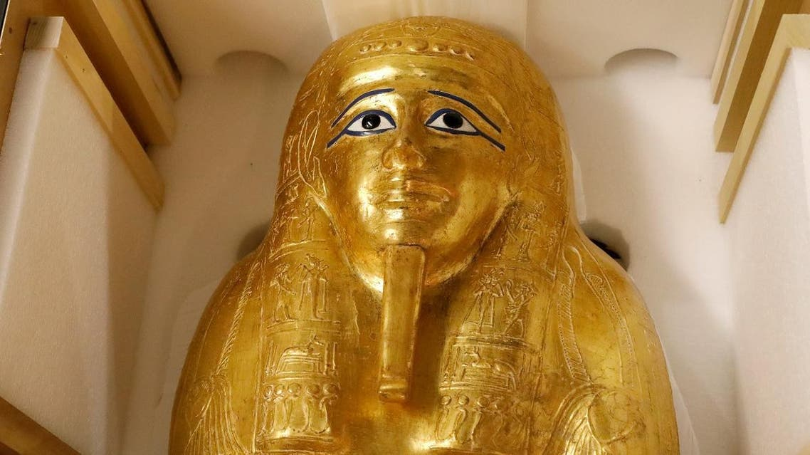 The Gold Coffin of Nedjemankh is displayed during a news conference to announce its return to the  people of Egypt in New York City, US, September 25, 2019. REUTERS