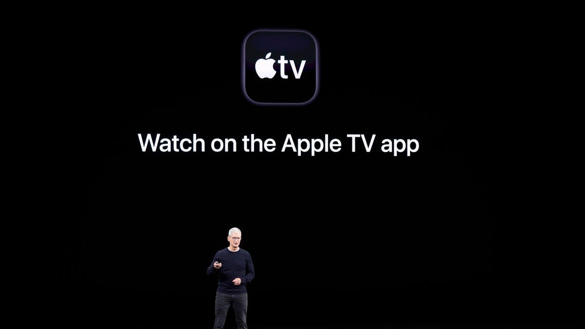 Apple CEO Tim Cook speaks about the new shows on Apple TV at the Steve Jobs Theater during an event to announce new products Tuesday, Sept. 10, 2019, in Cupertino, Calif. (AP)