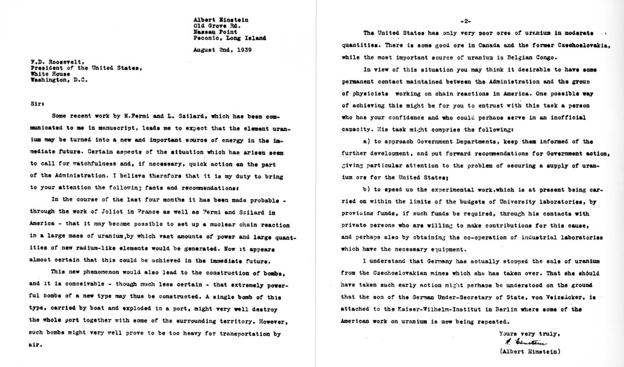 الرسالة الموقعة من قبل أينشتاين