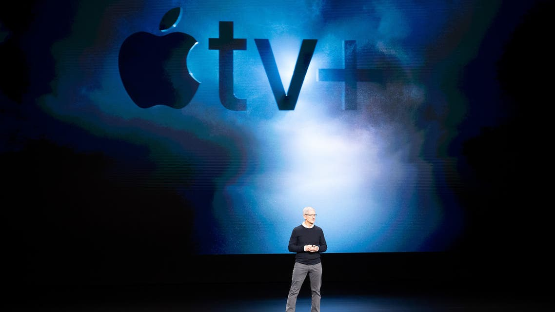 Apple CEO Tim Cook introduces Apple tv+ during a launch event at Apple headquarters on March 25, 2019, in Cupertino, California.