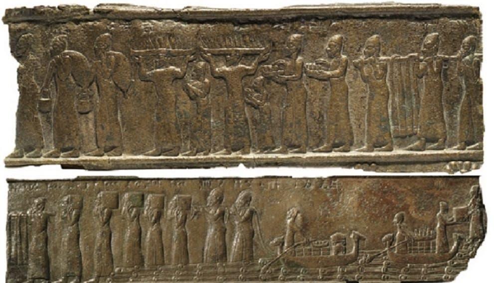 جداريات فينيقية لكيفية نقلهم البضائع من السفن