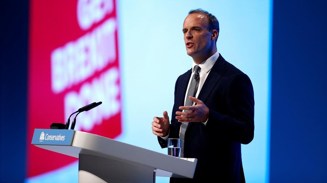 Foreign Secretary Dominic Raab speaks during the Conservative Party in Manchester, Britain, September 29, 2019. REUTERS