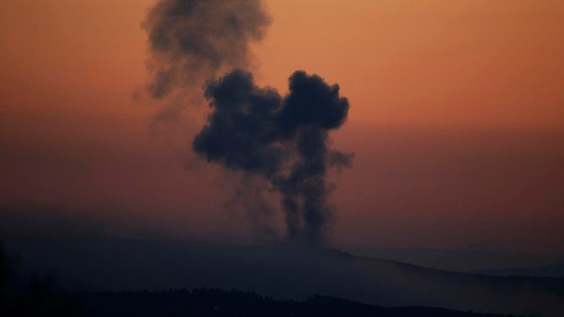File photo of an explosion in Afrin, Syria on Saturday, Jan. 20, 2018 . (AP)