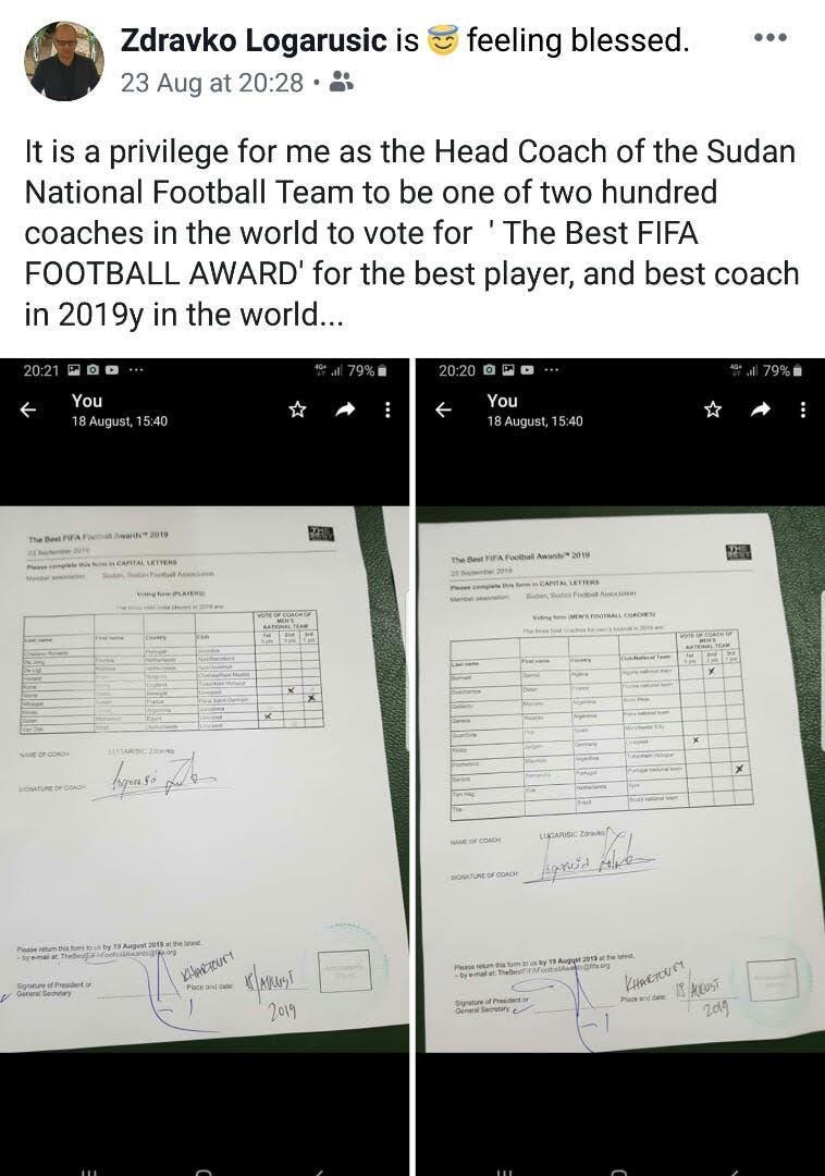 """صور نشرها مدرب السودان لترشيحاته على """"فيس بوك"""" في 23 أغسطس الماضي"""
