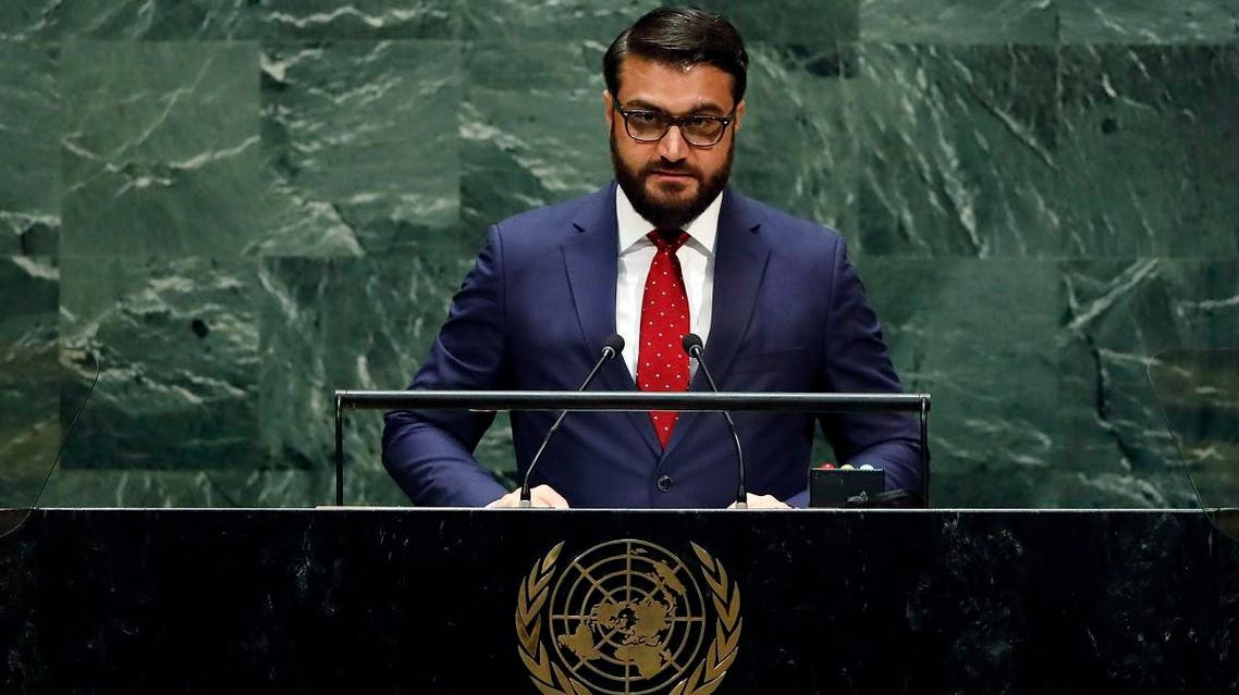 Afghanistan's National Security Adviser Hamdullah Mohib addresses the 74th session of the United Nations General Assembly, on September 30, 2019. (AP)