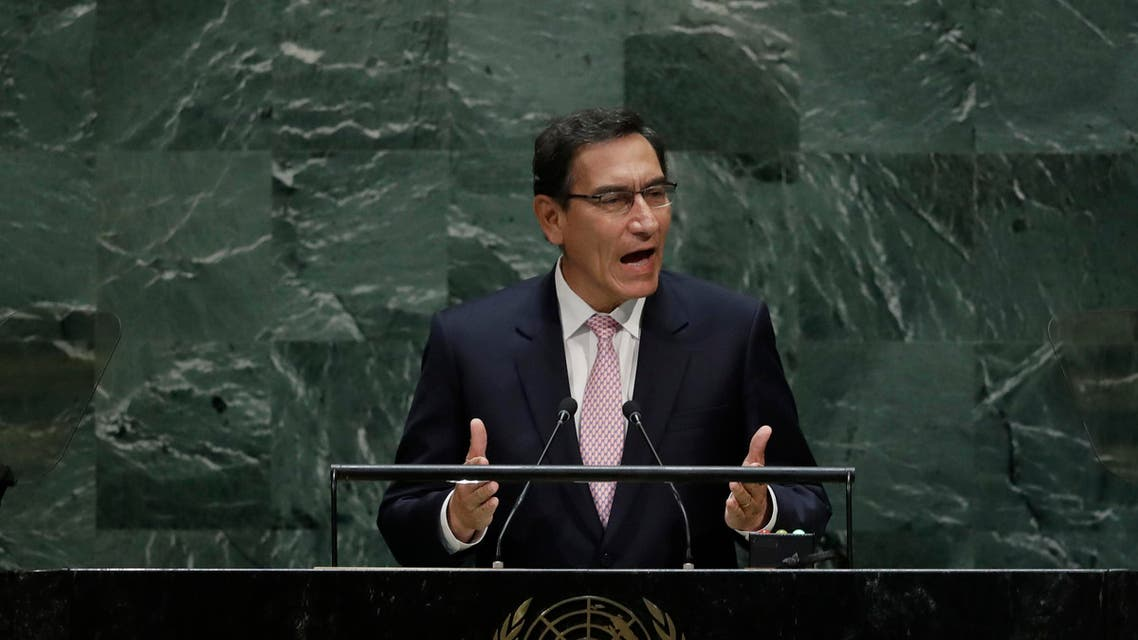 Peru's President Martin Vizcarra Cornejo addresses the 74th session of the United Nations General Assembly, Tuesday, Sept. 24, 2019, at the United Nations headquarters. (AP)