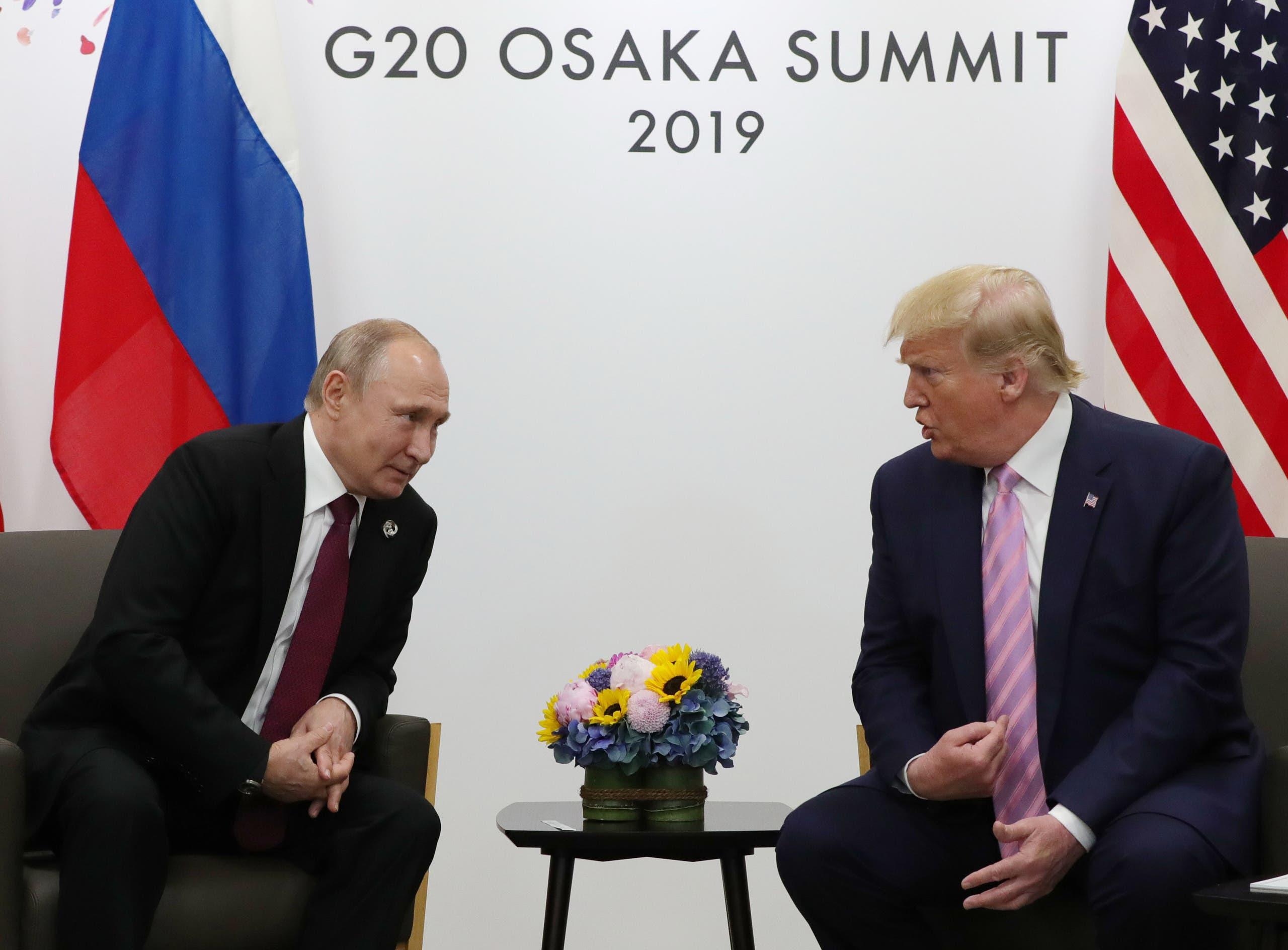لقاء بين الرئيس الأميركي دونالد ترمب والرئيس الروسي فلاديمير بوتين في اوزاكا باليابان في يونيو 2019