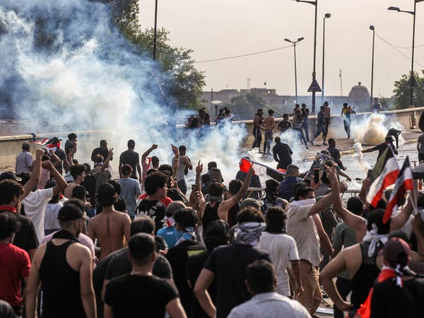 التلفزيون العراقي: متظاهرون يشعلون النار بمبنى محافظة ميسان