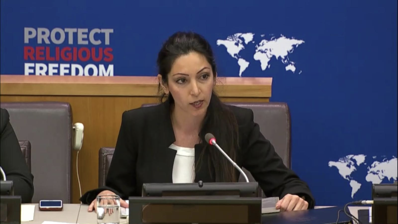 Iranian Christian Dabrina Tamraz speaking during an event at the United Nations. (Supplied)