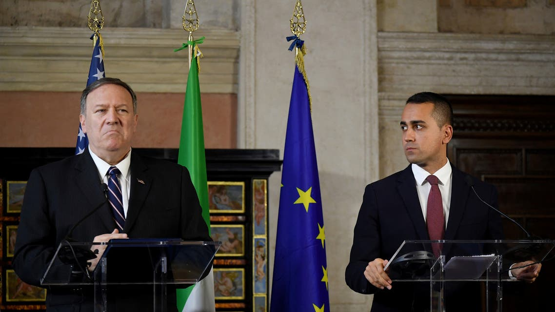 U.S. Secretary of State Mike Pompeo shakes hands with Italian Foreign Minister Luigi di Maio during a news conference in Rome, Italy, October 2, 2019. REUTERS/Alberto Lingria