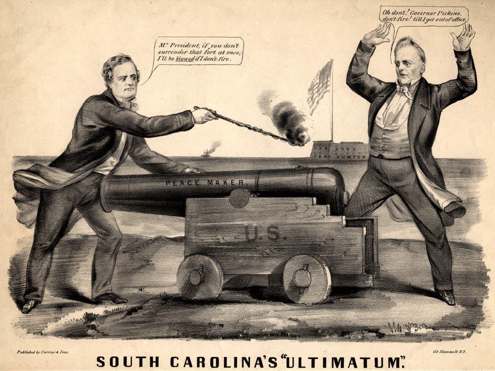 كاريكاتير ساخر حول فشل بيوكانان في التفاوض مع الجنوب حول مسألة العبودية